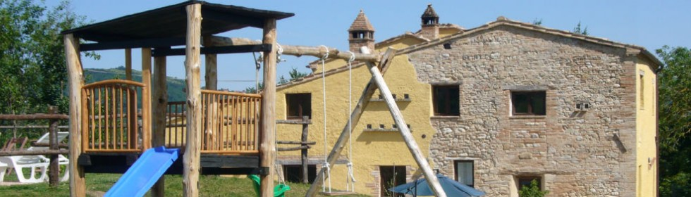 view of the le marche villa from the climbing frame