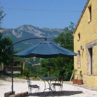 View of Sibillini Mountains from side of barn at Marche holiday rental San raffaello