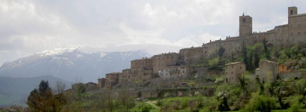 Sarnano centro storico Le Marche Italy in winter
