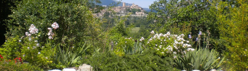 Sarnano from the front garden at Villa San raffaello Marche Italy