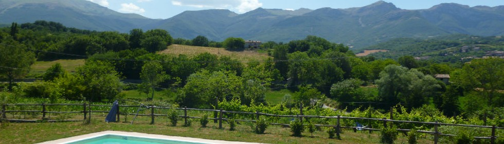 Sibillini mountains from the Le Marche Villas swimming pool