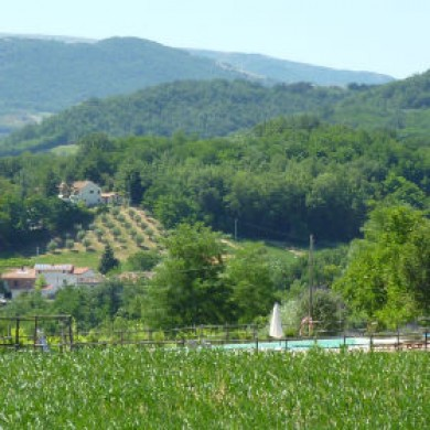 Le Marche Villa rental San Raffaello from the hills behind the farmhouse