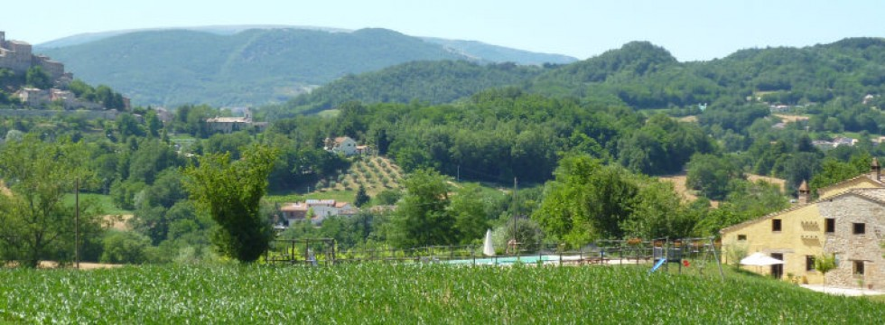 Sarnano and the Le Marche Villa San Raffaello from the hills behind the farmhouse