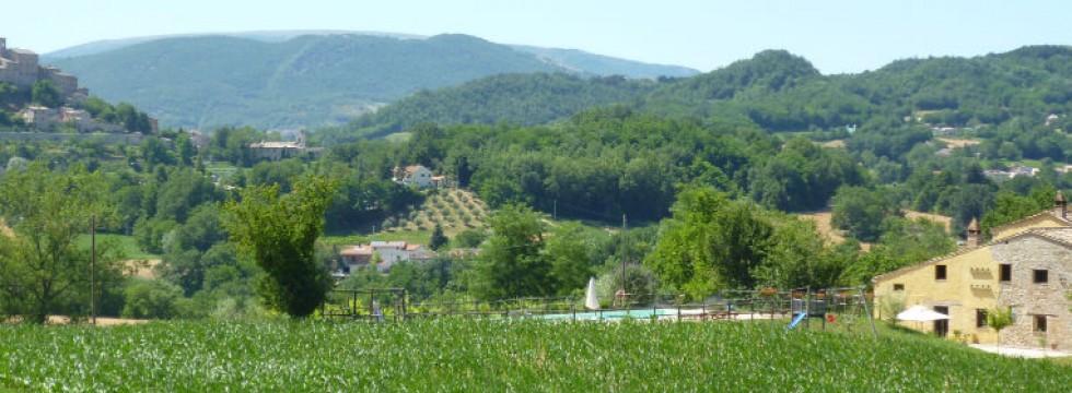 Le Marche Villa rental San Raffaello from the hills behind the farmhouse