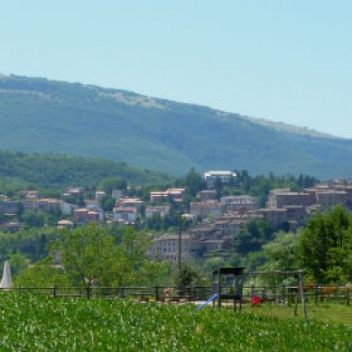 Sarnano and the Sibillini Mountains from the field bhind Villa San Raffaello