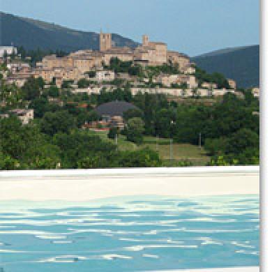 View of Sarnano from Villa San raffaello Marche Italy