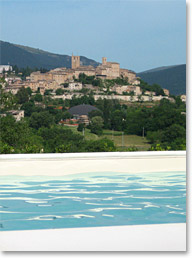 View of Sarnano from Villa San raffaello Marche Italy