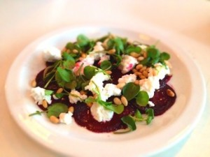beet cheese bittercress salad