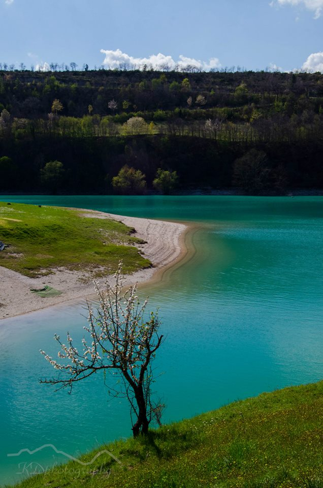 Beaches at the lake Fiastra Marche Italy